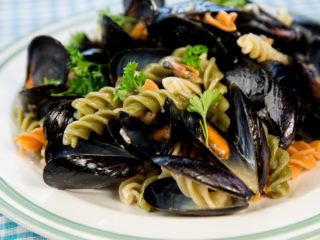 Fusilli with Mussels and White Wine Sauce -