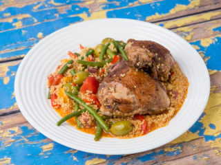 Chicken Thighs with Couscous and Veggies -