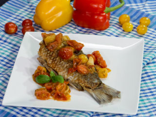 Fried Carp with Cherry Tomatoes -