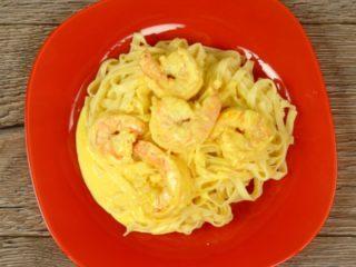Saffron Shrimp Tagliatelle -