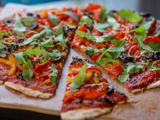 Arugula and Veggie Pizza -