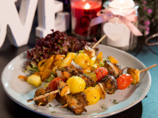 Chicken, Apple and Cherry Tomato Skewers -
