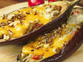 Stuffed Eggplant Topped with Cheese -