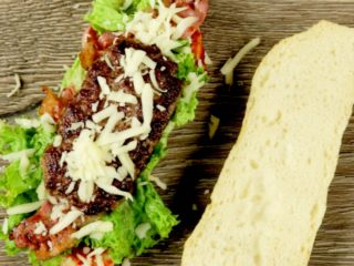 Spicy Ciabatta Burger with Bacon and Mozzarella -