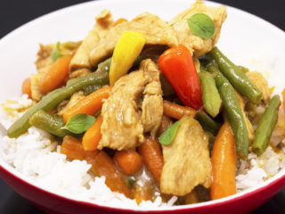 Chicken Curry with Baby Carrots and Green Beans -