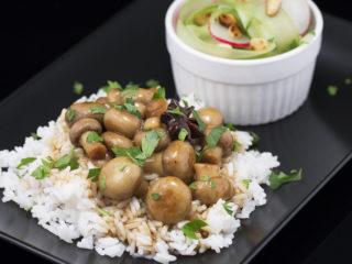 Soy Sauce Glazed Mushrooms with Refreshing Salad -