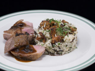 Duck Breast with Rice and Raisin Sauce -