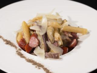 Eggplant and Bacon Pasta -