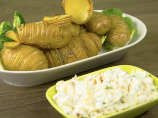 Hasselback Potatoes with Creamy Bacon Dip -