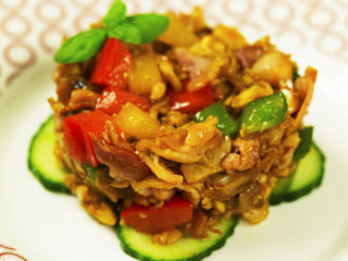 3-Color Fried Bell Pepper with Chicken and Bacon -