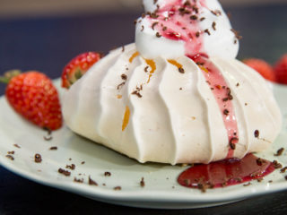 Strawberry Sauce Topped Meringues