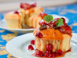Plain Muffins with Red Fruit Topping -