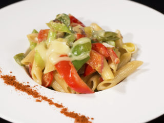 Penne with Eggplant, Bell Peppers and Celery -