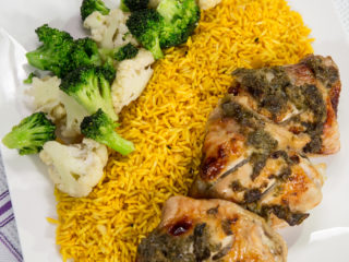 Caper and Honey Glazed Chicken with Rice and Sauteed Veggies -