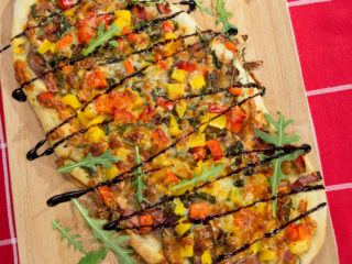 Bacon, Arugula and Veggie Flatbread -