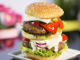 Double Burger with Mozzarella and Pickles -