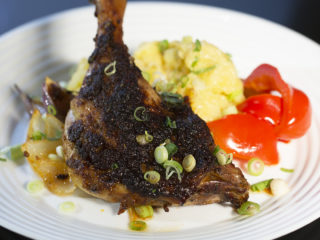 Roasted Duck Leg with Mustard Mashed Potatoes -