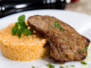 Pan-Fried Steak with Paprika Rice -