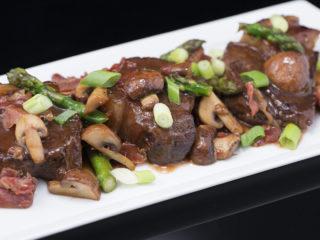 Honey-Glazed Chuck Steak with Pancetta and Asparagus -