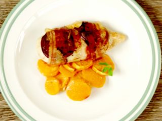 Bacon Wrapped Chicken Breast with Sweet Potatoes -