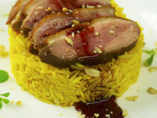 Duck Breast with Sweet and Sour Pomegranate Sauce -