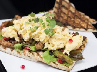 Scrambled Eggs and Turkey Sandwich -