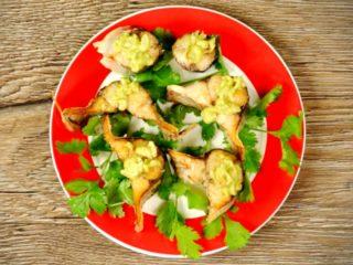 Fried Mackerel with Guacamole Dip -