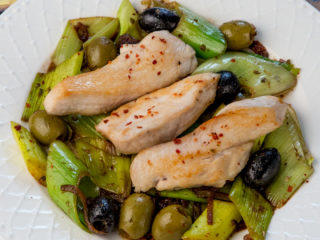 Pan-Fried Chicken Strips with Leek and Olive Side -