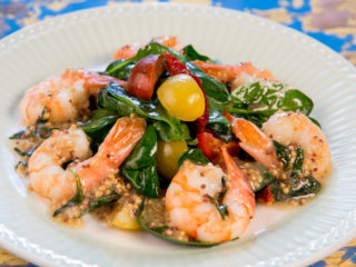 Butter Fried Shrimp with Spinach Salad -