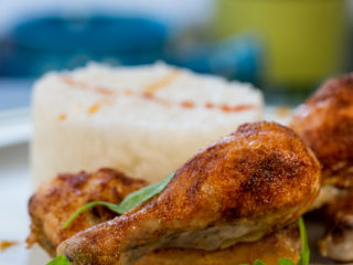 Roasted Chicken Drumsticks and Rice -