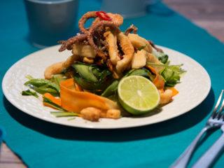 Fried Calamari and Baby Octopus Salad -
