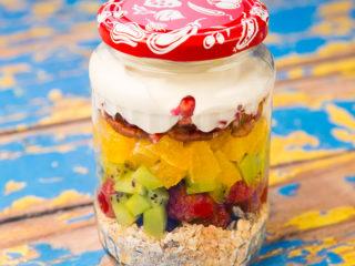 Muesli, Fruit and Yogurt Breakfast in a Jar -