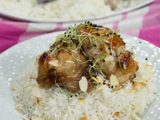 Honey-Glazed Chicken with Almond Rice -