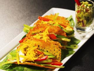 Cheesy Taco Shells with Homemade Guacamole -