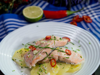 Salmon and Potatoes in Coconut Milk -