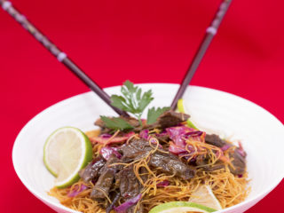 Beef and Red Cabbage Noodles -