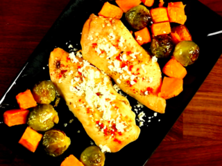 Chicken with Brussels Sprouts and Sweet Potatoes -