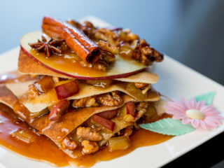 Layered Crepes with Caramelized Apples -