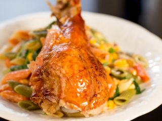 Roasted Turkey Leg with Penne -