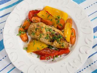 Baked Garlic Butter Chicken with Veggies -