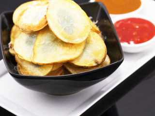 Fried Potato Chips with Basil and Parmesan -