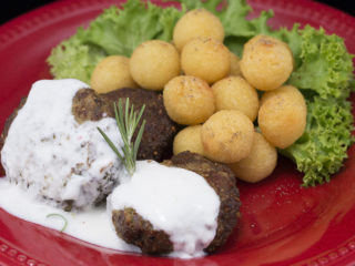 Spicy Lamb Meatballs with Yogurt and Mint Sauce -