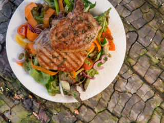 Rosemary Grilled Pork Chops with Fresh Veggie Salad -