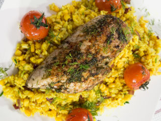 Roasted Chicken Breast with Turmeric Rice -