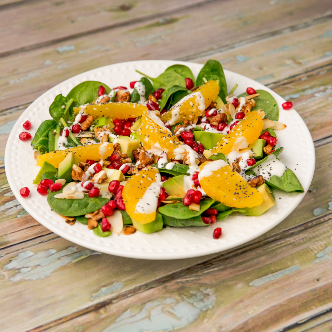 Fresh Fruit and Baby Spinach Salad -