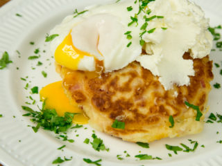 Bacon and Cheese Fritters with Poached Egg -