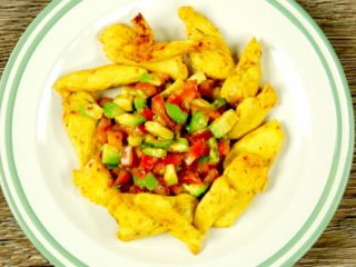 Spicy Chicken Strips with Avocado Salad -