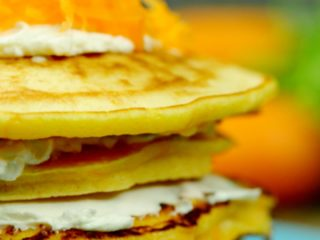 Carrot Pancakes with Cream Cheese -