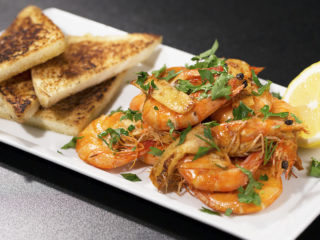 Garlic and Ginger Shrimp with Buttered Toast -
