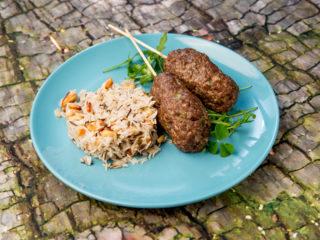 Beef Koftas with Cashews and Pine Nuts Basmati Rice -